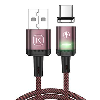 Kuulaa USB-C Magnetic Charging Cable 2 Meters with LED Light - 3A Fast Charging Braided Nylon Charger Data Cable Android Red