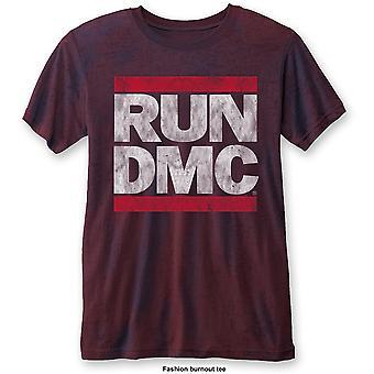 Run DMC - DMC Logo Unisex Medium T-Shirt - Blue,Red