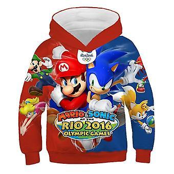 3d Cartoon Print Soft Hoodie Sweatshirt For Set-5
