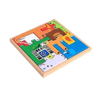Wooden animal shape puzzle, creative Tetris building block children's toy
