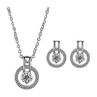 Kolczyki Set Lover Eyes Full Diamond Starry Sky Zircon Kobiety Naszyjnik Kolczyki na ceremonię