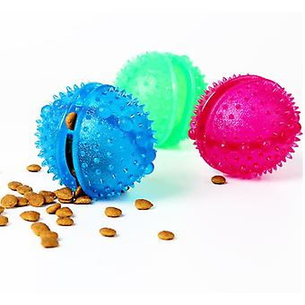 3pcs Treat Ball Toy Dispenser Interactive Silicone Food For Dog Cat Blue