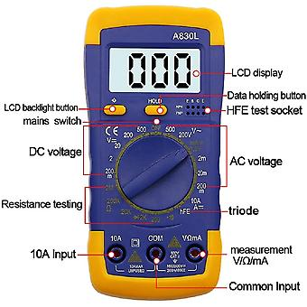 A830l lcd digital multimeter ac dc voltage diode freguency multitester current tester luminous display with buzzer function