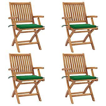 vidaXL Folding garden chairs with cushions 4 pcs. solid wood teak