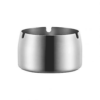 1Pc Round Shape Ash Tray Stainless Steel High Temperature Resistant Ashtray