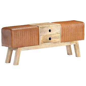 vidaXL Bench Turnbock Design 120 cm Genuine Goatskin Mango Wood