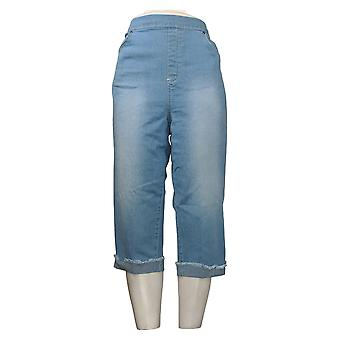 Denim &Co. Pantalon pour femmes Pull-on 5-Pocket Capri w / Roll Cuff Blue A375860
