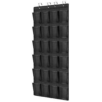 (Czarny) 24 Pocket Over The Door Shoes Organizer Rack Wall Hanging Storage Space Saver