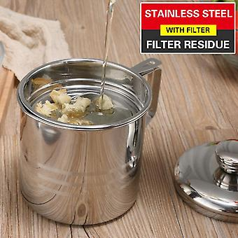 1.2L Stainless Steel Oil Strainer Pot Container Jug Storage Can With Filter Dispenser Kitchen Tools