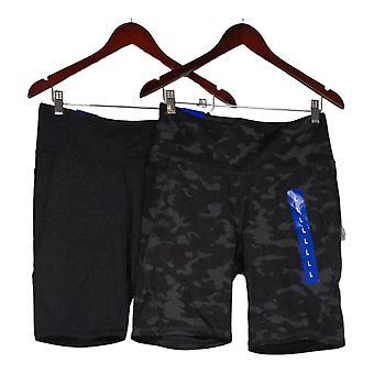 Danskin Women's Shorts Reg Set of 2 Polyester Camo Black