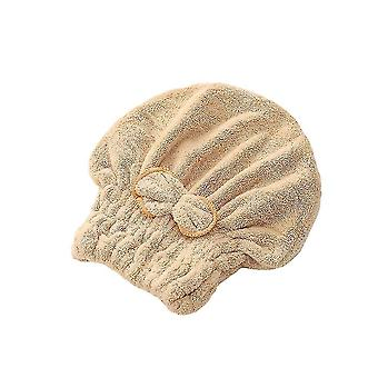 Bath towels washcloths hair drying towel head wrap with bow-knot shower cap for drying hair 25x30x3cm light brown