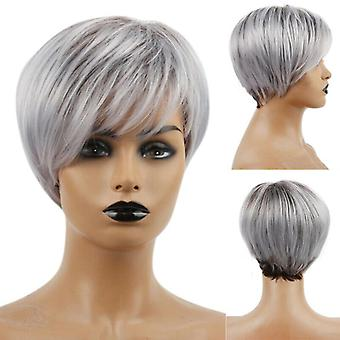 Womens Short Cut Pixie Wigs Ombre Silver Grey Hair Ladies Synthetic Full Wigs