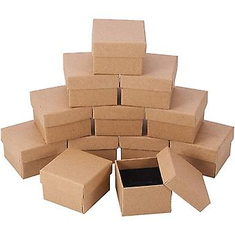 Kraft Brown Square Cardboard Jewelry Ring Boxes Paper Retail Gift Box 24 Pcs