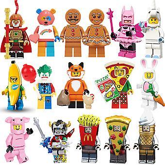 16pcs Pompage Fun Cartoon Blocs de construction Poupée Arc-en-ciel Ours Biscuit Homme Pizza Singe Roi Licorne Clown Lapin blanc Blocs de construction