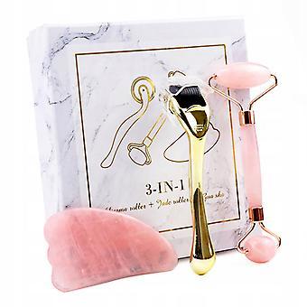 Massage Roller Face Pusher, Roze Set
