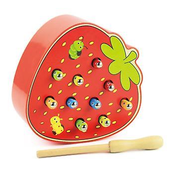 Jouets éducatifs 3D pour les tout-petits, Jeu de capture d'insectes, Fraise / pomme