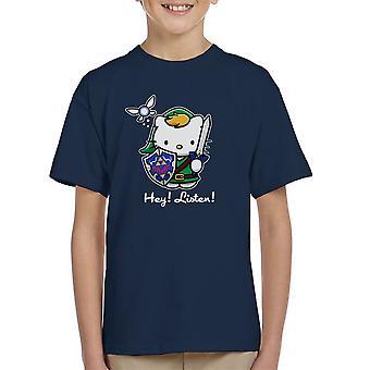 Hey Listen Link Hello Kitty Zelda Kid's T-Shirt