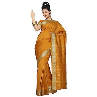 Mosterd Art Silk Saree Sari stof India gouden rand