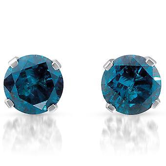 3 / 8ct diamant bleu goujons 10K or blanc