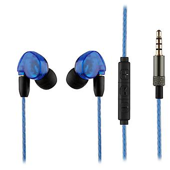 REYTID MMCX Sound-Isolating HD In-Ear Earphones Headphones - Enhanced Bass, Rich Detailed Sound Inline Remote w/ Microphone Volume Control - Compatible with Apple iOS / Android - Blue