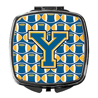 Carolines Treasures  CJ1077-YSCM Letter Y Football Blue and Gold Compact Mirror