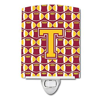 Letter T Football Maroon and Gold Ceramic Night Light