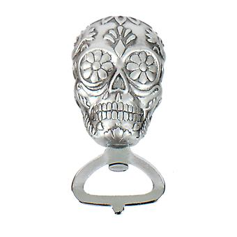 Sugar Skull Day of Dead Embossed Silver Bottle Opener 4 Inches