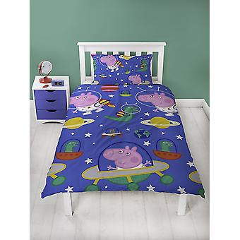 Peppa Pig George Pig Planets Single Duvet Cover