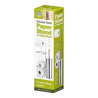 Fristående Silver Chrome badrum toalettpapper rullhållare och borste inställd