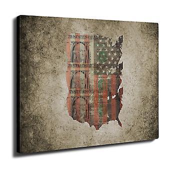 Benjamin Dollar Flag USA Wall Art Canvas 40cm x 30cm | Wellcoda