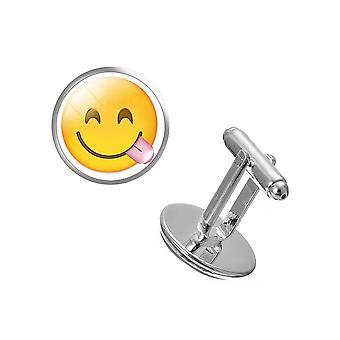 Frække smil par Emoji manchetknapper frække tunge gule knap sjov skjorte Cuff Link