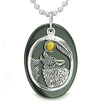 Amulett Mut Heulender Wolf Moon Glücksbringer in schwarzem Onyx Tiger Eye Anhänger Halskette