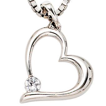 se balancer balancer coeur pendentif coeur 333 Gold or blanc 1 zircon