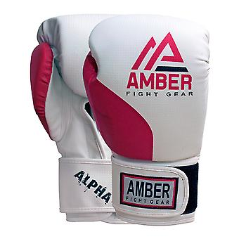 Amber Boxing Hook et Loop Pro Training Punching Bag Sparring Gloves Mitts Rouge /Blanc