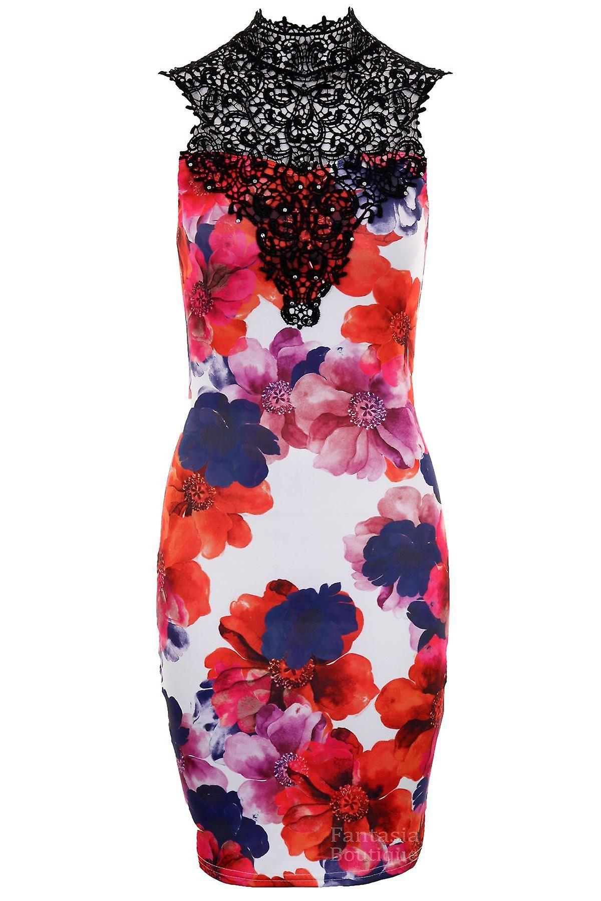 Ladies Floral Print Crochet Neck Sleeveless Evening Party Bodycon Women's Dress