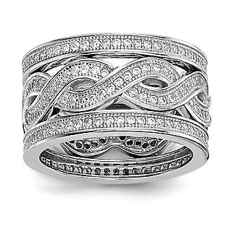 925 plata esterlina pave rhodium plateado y CZ Cubic Zirconia simulado diamante 3 piezas anillo de lujo conjunto de joyería regalos para