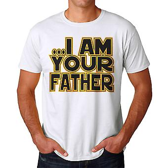 Humor I Am Your Father Empire Galaxy Quote Graphic Men's White T-shirt