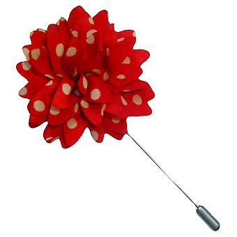 Bassin and Brown Spotted Flower Jacket Lapel Pin - Red