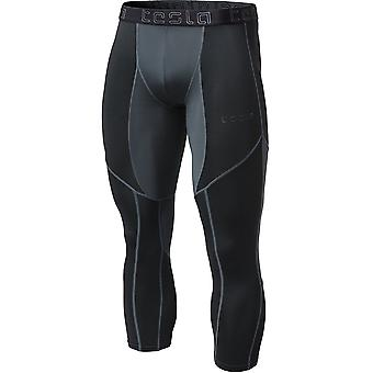 TSLA Tesla MUC78 Mesh 3/4-Length Sports Compression Tights - Black/Charcoal