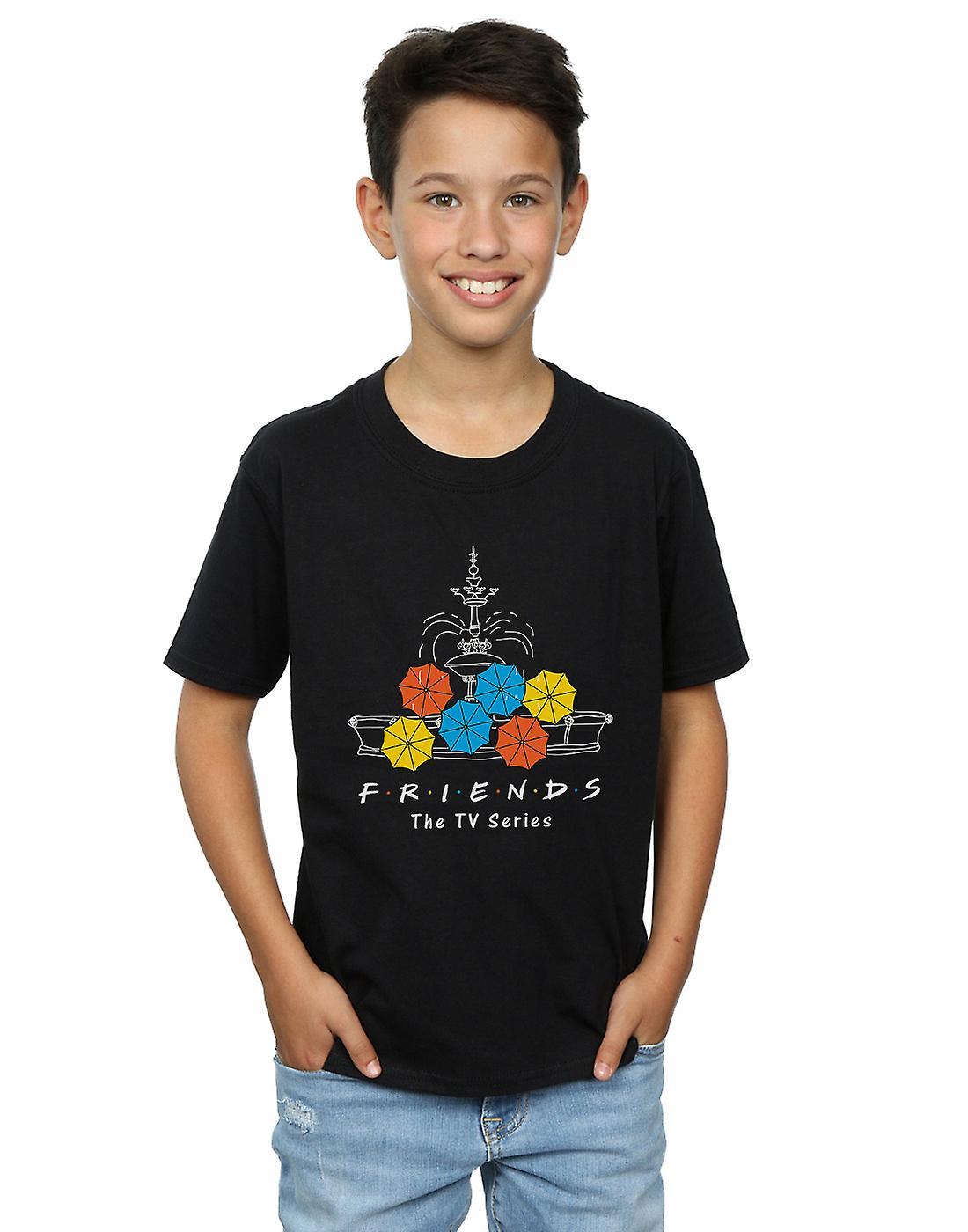 Friends Boys Fountain And Umbrellas T-Shirt