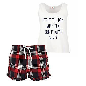 Start mit Tee am Ende es mit Wein Damen Tartan Rüschen kurze Pyjama Set rot, blau oder grün, blau