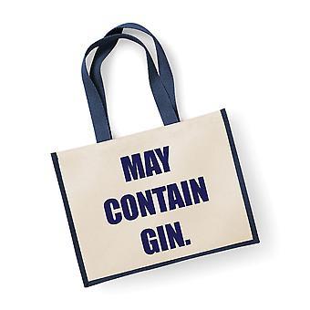 Große Jute-Tasche kann Gin Navy blauen Beutel enthalten.