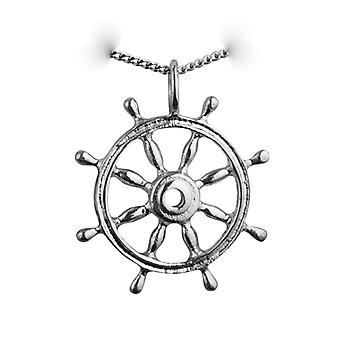 Silver 28mm solid Ships Wheel Pendant with a curb Chain 24 inches