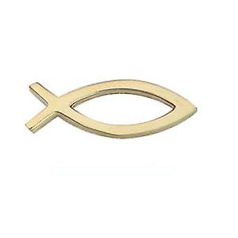9kt guld 19x6mm Christian Fish symbol Tie Tack