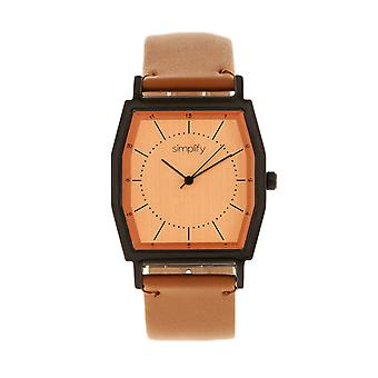Simplify The 5400 Leather-Band Watch - Orange/Camel