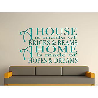 Une maison est faite de briques et de poutres v2 Wall Art autocollants - Aqua Vert