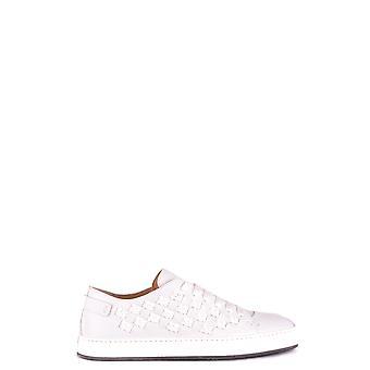 Santoni Mbci20779biamblyi50 Men's White Leather Sneakers