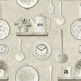 Kitchen Theme Utensils Clocks Floral Vinyl Wallpaper Beige White Grey Rasch