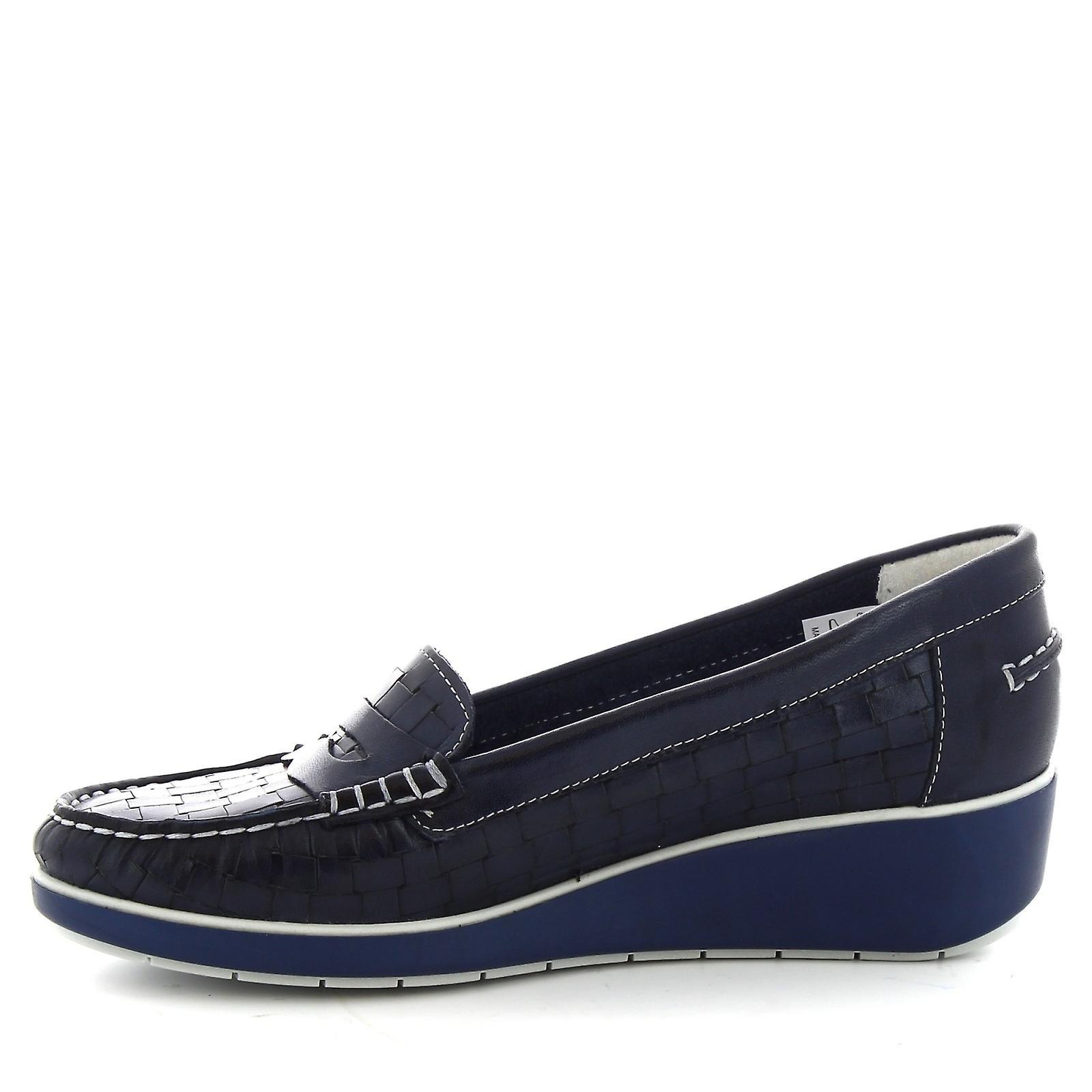 Leonardo Shoes Women's handmade slip-on loafers in blue woven calf leather