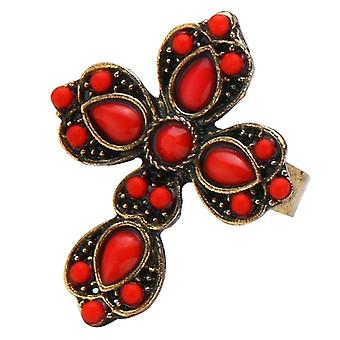 Enamel and Tin Alloy Embellished French Cross Fashion Ring